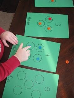 Will make into a booklet for kids. Good Differentiation,  Can be used to learn: circles, one to one, counting, number recognition, number sight word recognition, and Pattern reading  if I add simple sentence ie  one circle, two circles  also singular, plural