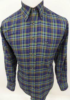 Faconnable Mens Button Down Dress Shirt L/S Plaid Oxford sz Medium Made in USA #Faconnable