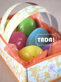 Blah: empty tissue box  TADA!: Easter Basket