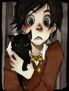 A Boy and His Cat by MadLibbs.deviantart.com on @deviantART