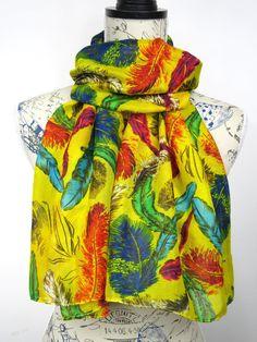Feather Print Scarf - Fashion Tribal Scarf - Fall Boho Scarf - Women Feather Scarf - Unique Printed Scarf - Yellow Fabric Scarf - Gift Idea