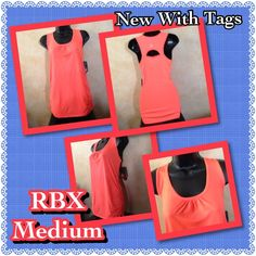 RBX- Medium-Moisture Wicking- Tank Top- Coral RBX- NWT- Medium Tank Top- Athletic/Activewear- Bright Coral- Moisture wicking material- Fade resistant- cinched at neckline and on the lower seam-line- No bra/lining, more of a cover up/layer when wear in a sports bra RBX Tops Tank Tops