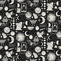 'Lunar Pattern: Eclipse' Tapestry by Camille Chew Witchy Wallpaper, Dark Drawings, Bear Graphic, Pagan Art, Harry Potter, Witch Aesthetic, Learn Art, Thing 1, Ink Illustrations