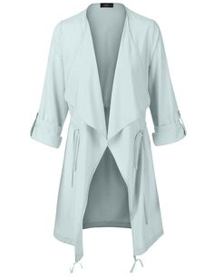LE3NO Womens Lightweight Open Front Draped Trench Jacket with Adjustable Drawstring