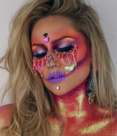 """1,111 Likes, 17 Comments - ________VANESSA DAVIS________ (@the_wigs_and_makeup_manager) on Instagram: """"Silicone Sunset Tears Skull TEARS: @dermaflage 2 Part glitter silicone in 3 Colours: Gold,…"""""""