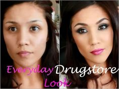 SUPER easy everday makeup look using drugstore products no false lashes too!!