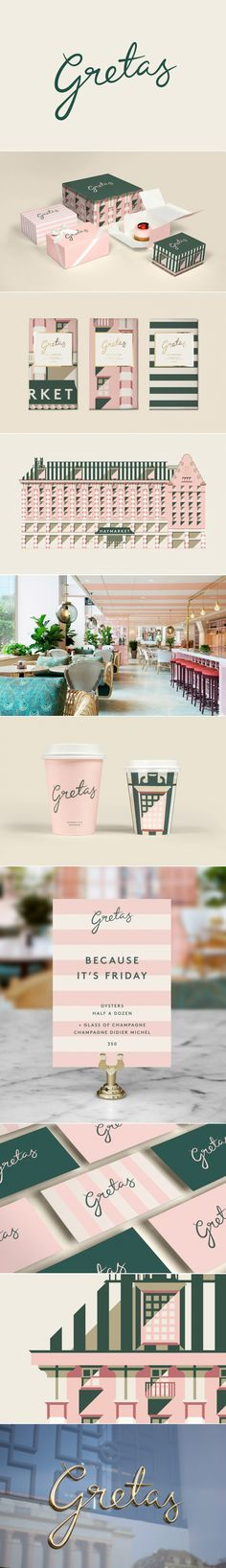Soft pink hues and forest greens help to give this branding identity a fun, distinctive, old-world feel somewhat reminiscent of both The Beverly Hills Hotel and The Grand Budapest Hotel. The design itself is highly versatile, as we can see from it's ability to be wrapped around a range of products, adeptly portraying the historical building in which Gretas is set in. Gretas by 25AH