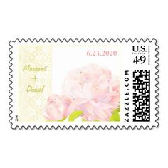Delicate Peony   Faux Lace Wedding Save the Date Postage Stamps