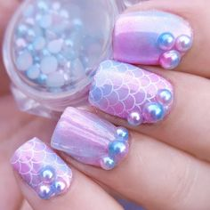Beautiful fish scales nails shared here! Manicured by @peb_nails. How do you think of this #gradientnails? More details shared in bornprettystore.com. #3dnails #bornpretty Fish Scale Nails, Fish Nails, Gradient Nails, Blue Nails, Funky Nails, Trendy Nails, Unicorn Nails, Pearl Nails, Mermaid Nails