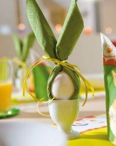 serviette idee ei weiss ostern deko tisch - easy and cute