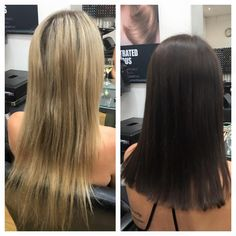 wow look how shiny and health this hair looks after a huge change ! brunette never looked so healthy! this look was created using goldwell colour