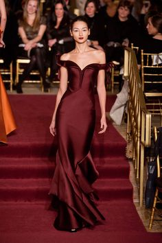 wine gown, off-the-shoulders dress, Zac Posen Fall 2013
