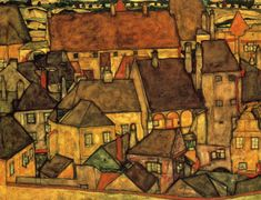 worldpaintings:  Egon Schiele Yellow City, 1914, oil on canvas, 110 x 140cm, private collection.