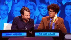 Richard Ayoade eating a banana during Big Fat Quiz of the Year Richard Ayoade, Matt Berry, Julian Barratt, British Comedy, Spice Girls, Comedians, Filmmaking, Pop Culture, Writer