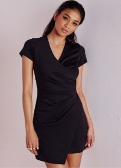 Black Plunge Neck Ruffle Short Sleeve Bodycon Dress