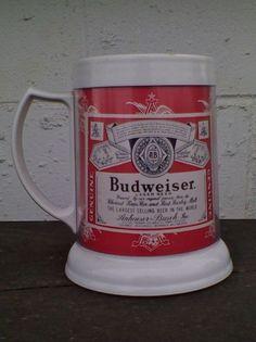 "Budweiser Beer Plastic Thermal Beer Mug Stein by Dawn 4.75"" Stein Bar Mancave"
