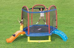 Little Tikes 7' Climb 'N Slide Trampoline is a toy our 6 year old girl loves to play with. These are super popular toys!