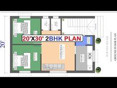 20x30 East Facing 2bhk House Plan in Vastu (600 sqft) - YouTube Little House Plans, 2bhk House Plan, Best House Plans, House Floor Plans, 20x30 House Plans, Good Health Tips, Good House, Ground Floor, Bungalow