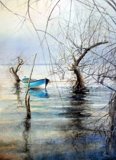Original Landscape Painting by Rukiye Garip Oil Painting App, Watercolor Paintings For Sale, Lake Painting, Easy Watercolor, Watercolor Landscape, Landscape Art, Realism Art, Cool Landscapes, Water Crafts