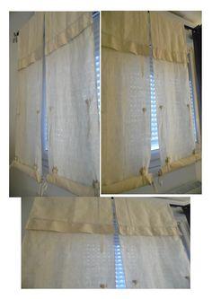 Rideaux stores faits avec draps anciens en lin et 3 niveaux de relevage manuel : Textiles et tapis par annbcreation