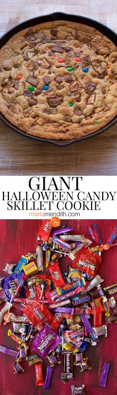 What to do with all that leftover Halloween candy? Make a GIANT Skillet Cookie with it! Get the recipe on MarlaMeridith.com #recipe #cookies #halloween