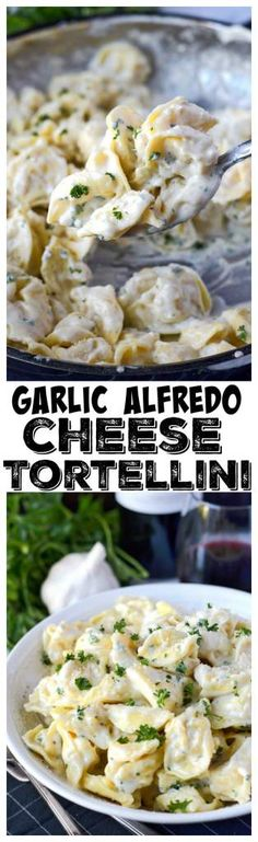 This Garlic Alfredo Cheese Tortellini is creamy and garlicky and comes together in less then 30 minutes. A perfect pasta dish that's easy to through together for a weeknight meal. #pasta #tortellini #garlicalfredo #30minutemeal