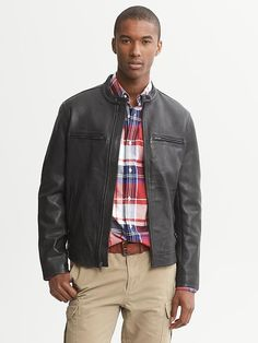 Banana Republic | Black Leather Moto Jacket