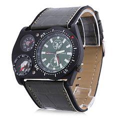 Men's PU Analog Quartz Wrist Watch (Black) – GBP £ 8.76