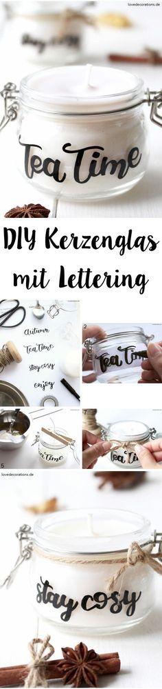 DIY Candle Jar with Lettering | DIY Kerzenglas mit Lettering