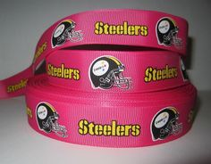 "GROSGRAIN PINK PITTSBURGH STEELERS FOOTBALL 1"" RIBBON *YOUR CHOICE 1, 3, 5 YARDS"