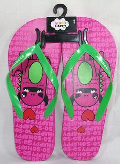 So-So Happy Pink Taco flip flops