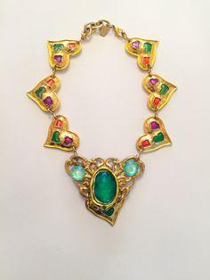 Molten, Glass and Enamel French Heart, Art Nouveau Paste and Filigree Emblem. Filigree, Art Decor, Art Nouveau, Jewelry Design