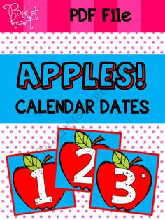 APPLES - Calendar Dates from Pink at Heart on TeachersNotebook.com -  (11 pages)  - PDF - 1-31 Date Cards & 6 Blank Cards!