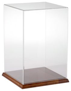 "Acrylic Display Case with Hardwood Base 8"" W x 8"" D x 12"" H"