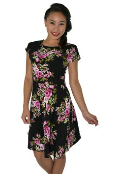 PSL Floral Fit and Flare in Black Floral Short Sleeve Dresses, Dresses With Sleeves, Fit And Flare, Floral, Fitness, Casual, Black, Fashion, Moda