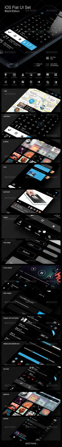 iOS Flat UI Set Black Edition