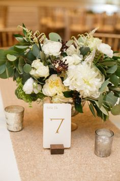 Gold Ivory and Green Centerpiece | photography by http://www.amandawatsonphoto.com