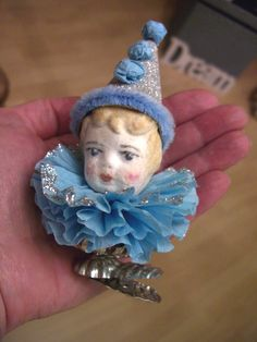 Handmade Christmas, Vintage Christmas, Christmas Crafts, Christmas Decorations, Cotton Crafts, Paperclay, Crepe Paper, Xmas Ornaments, Clowns