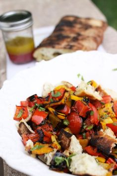 Grilled panzanella salad - Grilled vegetables with olive oil and pine nuts or pumpkin seeds, without bread. I would still add toasted bread or lavash!