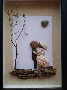 Unique Wedding art, bride and groom, rock art, wedding pebble art by madebynatureandme on Etsy