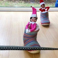 Hausschuhwetthüpfen  Aha da haben sich Ivo und Heidi Jolinas Hausschuhe geschnappt für ein Wetthüpfen und mein Metermaß aus dem Nähzimmer ist das Zielband  Zu zweit kommen die auf noch verrücktere Ideen  #familienblog #ivotheelf #elfontheshelf #weihnachtstradition #lebenmitkindern #familienleben Elf On The Shelf, Down Syndrom, Shelves, Holiday Decor, Instagram, Home Decor, Family Life, Inside Shoes, World