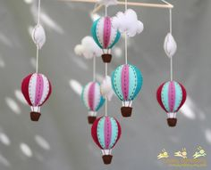 Jewelry tone hot air balloons baby mobile - baby mobile. $70.00, via Etsy.