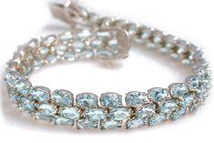 Aquamarine Bracelet in 14k White Gold only $1,995.00 - Aquamarine Jewelry March Birthstone