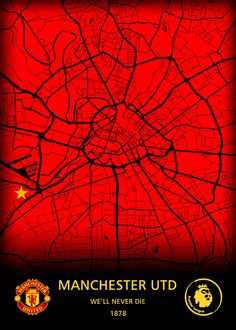 """Beautiful """"Manchester United FC metal poster created by Original Maps. Our Displate metal prints will make your walls awesome."""