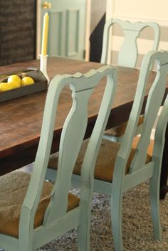 Primitive & Proper: DIY:: Makeover- Duck Egg Dining Chairs recovered with burlap