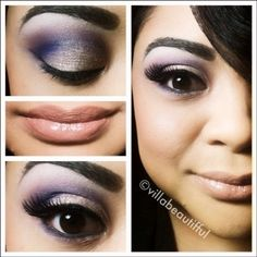 Try this look in Merle Norman eyeshadows - Ice, Purple Reign, and Sand! Lip color in Shy Lip Polish!