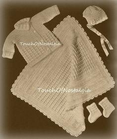 Crochet ANGORA Trim Layette Vintage Crochet by touchofnostalgia7