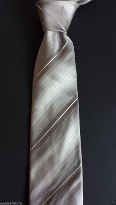 #men dress tie Kenneth Cole men silk dress tie silver color with stripes NEW without tags KennethCole withing our EBAY store at  http://stores.ebay.com/esquirestore