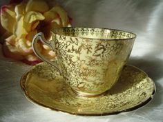 Vintage BALFOUR English Tea Cup and Matching Saucer by AnalogKitty,