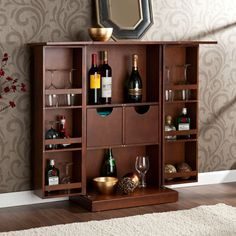 Closed, It appears to be a beautiful compact walnut cabinet. Open the doors, and this walnut fold-away bar reveals an amazing service bar. The top of this cabinet unfolds and provides ample service space. Home Bar Furniture, Cabinet Furniture, Furniture Ideas, Royal Furniture, Furniture Movers, Furniture Online, Home Bar Cabinet, Liquor Cabinet, Cabinet Ideas
